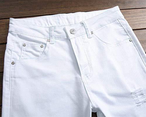 Gamba Lunga Jeans Especial Motociclista Uomo Color Bianca Estilo Slim Fit Da Pantaloni Casual Pennello Chiusura Foro Con Skinny PrpHqPxwf7