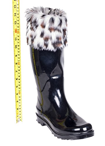 Boots Calf Tall Knee Fur Below W Black Mid Knit Cotton Rain Cuff Rubber Lining amp; Women's Sock Ladies Faux Flat Cuff qwPzzI