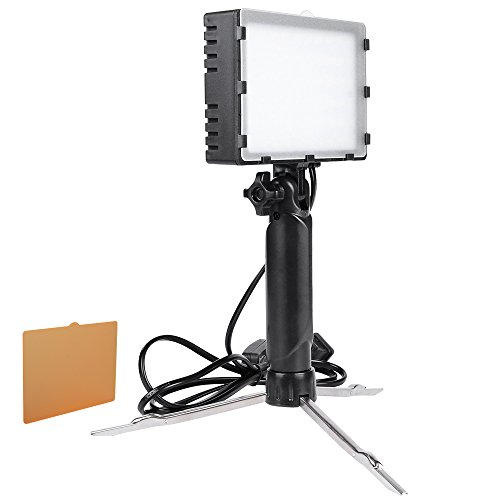 Hakutatz LED Portable Continuous Photography Lighting Lamp Light with Stand Kit for Table Top Photo Video Studio Light with Color Filters