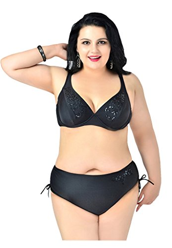 UDreamTime Frauen 2-teilig Plus Größe Stickerei Bademode Bikini-Set Schwarz nqYlM