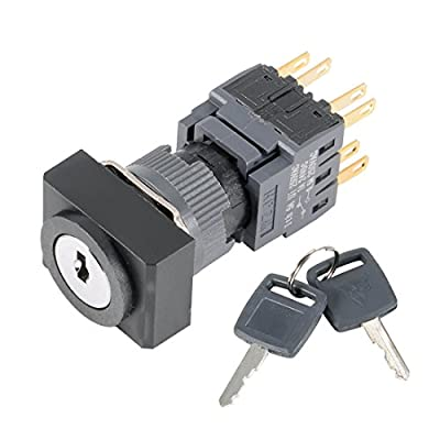 uxcell Latching Selector Key Lock Switch AC 250V 0.5A 16mm Mounting Dia DPDT ON-OFF-ON 3 Position 1/0/2 Rectangle Head w 2 Keys