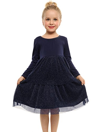 Arshiner Little Girls Long Sleeve Casual Ruffle Dress