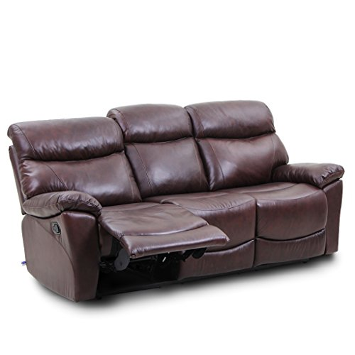 Chair Grain Sofa Top Leather (VH FURNITURE Top Grain Leather Reclining Sofa 3 Seats In Brown)