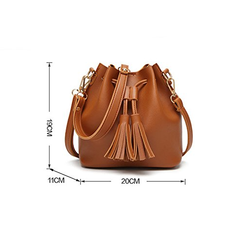 Mobile Tassel Brown Bag Small Shoulder Bag Version Slung Of Casual The Female Bag Korean XIAOLONGY qYxv6v