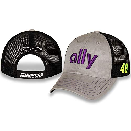Checkered Flag Jimmie Johnson 2019 Ally Sponsor Mesh NASCAR Hat Gray, Black (Checkered Flag Baseball Cap)