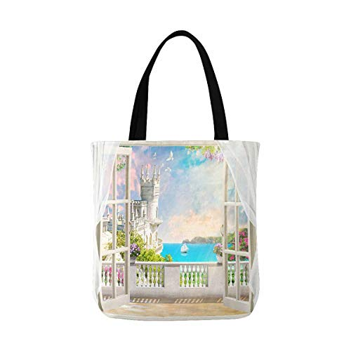 InterestPrint Digital Mural Beautiful View of Castle Sea Sailboat and Flowers Canvas Tote Bags Reusable Shopping Bags Grocery Bags Party Supply Bags for Women Men Kids ()
