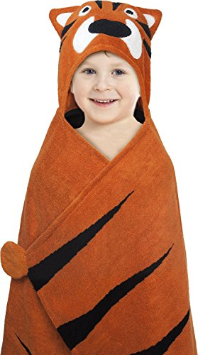 "Best Brands Deluxe Hooded Towels for Kids, 100% Cotton Terry, Oversized 27"" x 47"", Perfect for the Bath, Pool, the Beach- (Tigers Embroidered Towel)"