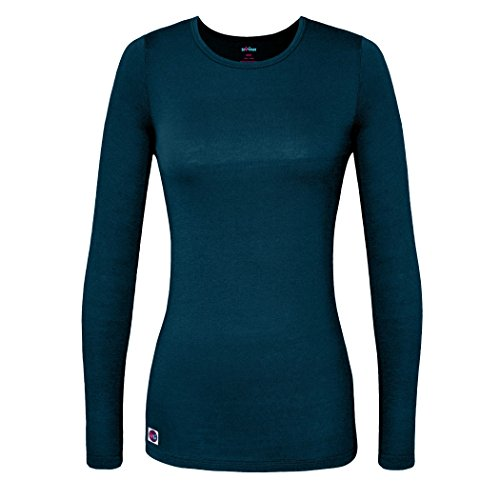 Sivvan Women's Comfort Long Sleeve T-Shirt / Underscrub Tee - S8500 - Caribbean Blue - L (Long Lab Coat Colored Unisex)
