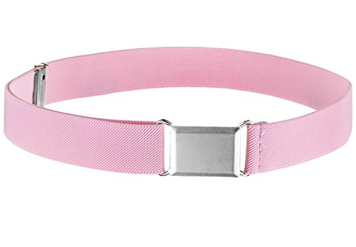 Kids Elastic Adjustable Strech Belt With Silver Square Buckle- Light Pink