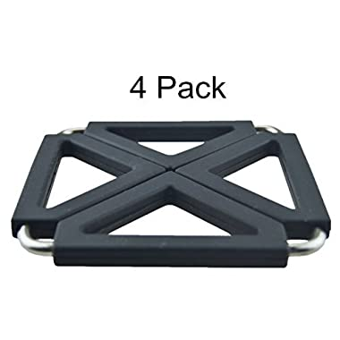 MelonBoat Expandable Silicone & Metal Trivet Mat, Hot Pot Holder Pads, 6.3  Square Black, Set of 4