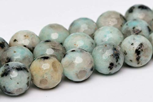(6MM Natural Green Sesame Jasper Beads A Micro Faceted Round Loose Beads 15
