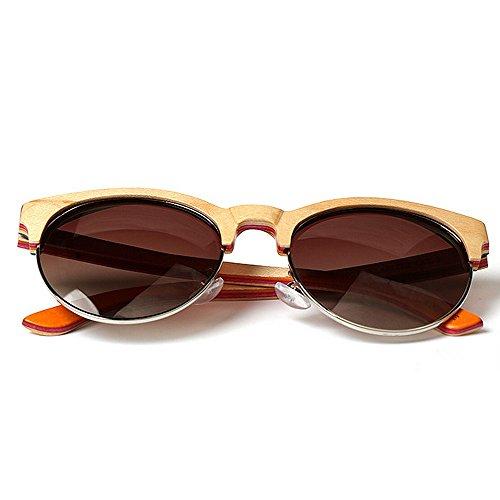 Gafas hechas planos montura protección mano Lentes gato Ojos hechos bambú de Gafas de espejados de a de de mano de sol semi sin a madera de sol conducción sol Gafas de Gafas de sol madera de UV gafas 7dzdFwqA