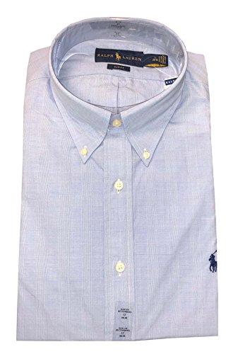RALPH LAUREN Mens Slim Fit Button Down Pony Logo Shirt (L 16 32/33, Light (Lauren Three Button Jeans)