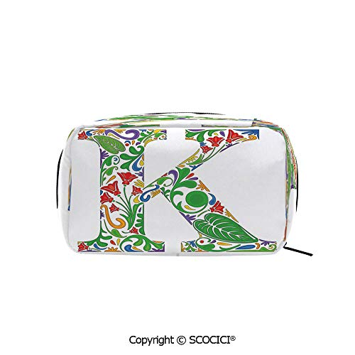 Rectangle Beauty Girl And Women Cosmetic Bags Vivid Color Scheme Natural Inspirations Flowers Leaves Stalks Uppercase K Alphabet Decorative Printed Storage Bags for Girls Travel