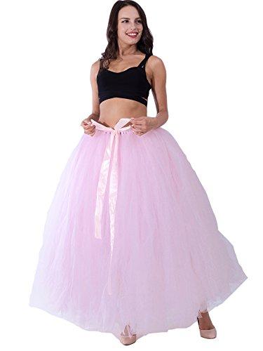 FOLOBE Mujeres Puffy Tutu Tulle Falda 100CM/39.4in rosado