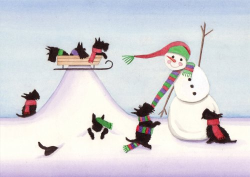 (12 Christmas cards: Scottish terriers (scotties) frolicking in snow / Lynch folk art)