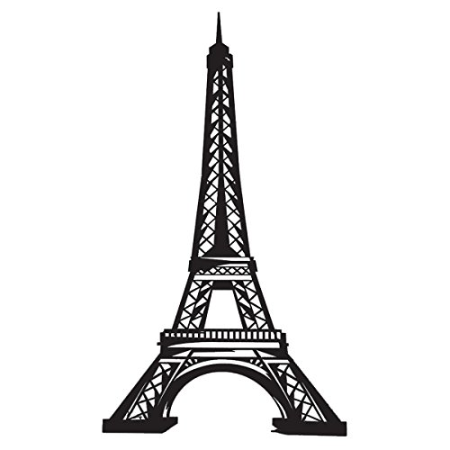 TCDesignerProducts Black Eiffel Tower Lifesize Cardboard Standup, Paris Decoration