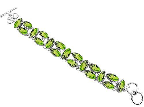 Peridot Quartz .925 Sterling Silver Overlay Handmade Fashion Bracelet Jewelry