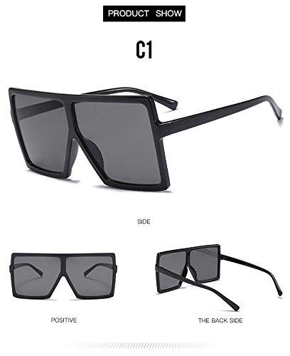 tan UV400 mujer TL C6 gafas tonos degradado de sol Unas Gafas enormes mujer Lentes plazas Sunglasses de sol C1 hombres qUUTz7n