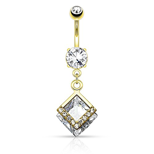 Inspiration Dezigns 14GA Mounted Diamond Shaped CZ with Paved CZs Dangle Navel Ring (Gold/Clear)