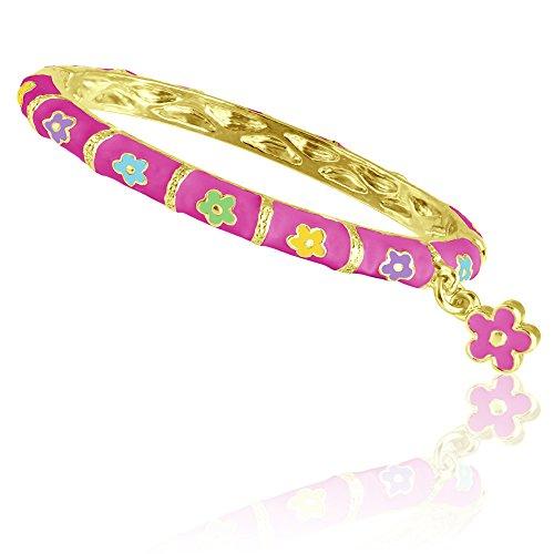 Girls Bracelet with Dangle Charm | Flower Bracelet for Girls Charm Bracelet | Bangle Bracelets for Kids | Adorable Dangle Flower Charm, Hinged Lock