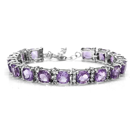 21.76ct. Natural Cushion Shape Amethyst White Gold Plated 925 Sterling Silver 6.5-7-8