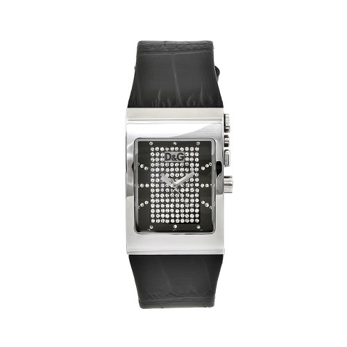 D&G Dolce & Gabbana Women's DW0154 Logo Side Black Leather Crystal Dial Watch