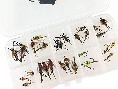 RiverBum Prince Nymph Assortment Kit with Fly Box, Bead Head, Rubber Legs, Psycho Prince - 30 Piece
