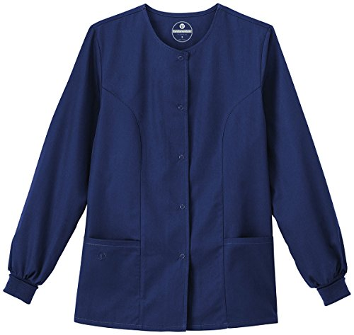 Trust Your Journey F3 Fundamentals by White Swan Women's Snap Front Warm Up Solid Scrub Jacket XXX-Large New Navy