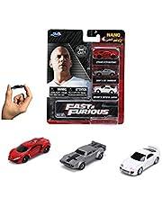 Jada Toys 253201004 Fast & Furious 3-pack Nano Cars Wave 4, Vrijloop, Lykan Hypersport, Dodge Ice Charger, Toyota Supra, wit, meerkleurig