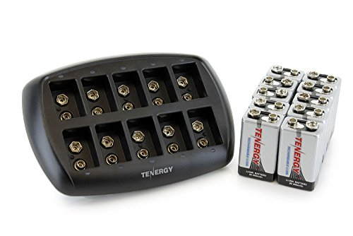 Tenergy TN295 10-Slot Li-ion 9V Battery Charger with 10 Pack 9V Li-ion Rechargeable Batteries