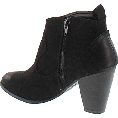 Qupid On Distressed Ankle Women's Heel Cowboy Bootie Western Slip Stacked Boot Pull Black SS6qU4Tw