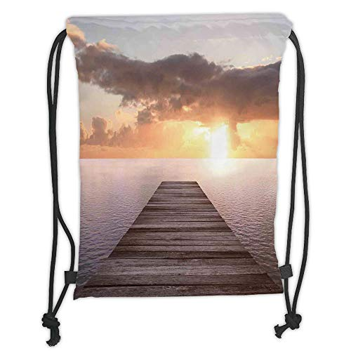 New Fashion Gym Drawstring Backpacks Bags,Art,Sunset Photo from Old Wooden Pier Deck over the Sea Horizon Clouds by the Ocean Art,Yellow Blue Brown Soft Satin,Adjustable String Cl]()