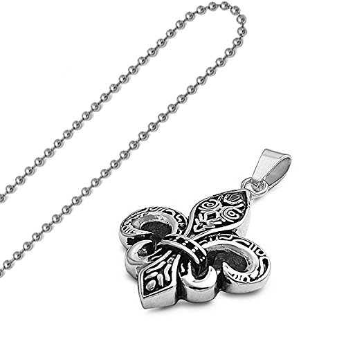 - SP-940 316L Stainless Steel Plain Solid Pendant Oxidized Celtic Tribal Fleur De Lis Cross with Clear CZ Accent