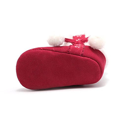 Voberry Baby Toddler Girls Knit Soft Winter Warm Snow Boot Fur Trimmed Pom Pom Boots (12~18 Month, Red 3)