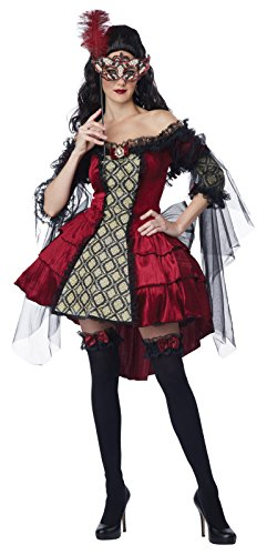 Womens Mysterious Costumes Masquerade (California Costumes Women's Eye Candy - Mysterious Masquerade Adult, Burgundy/Black,)