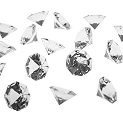 Super Z Outlet Acrylic Clear Faux Round Diamond Crystals Treasure Gems for Table Scatters, Vase Fillers, Event, Arts & Crafts, Birthday Favors, Wedding Decorations (2 pounds, 120 Pieces)