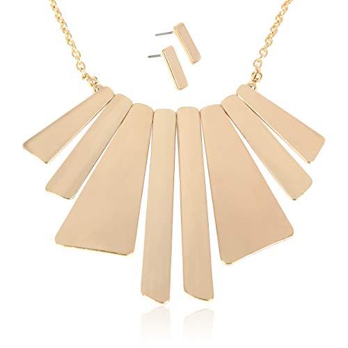 RIAH FASHION Bohemian Geometric Metallic Necklace - Boho Tribal Chain Bib Collar Choker Wavy Bar Fringe/Spike Tooth (Chunky Geometric Bib - Gold)