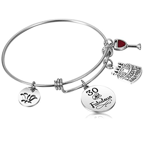 Alxeani 30 Birthday Gifts For Women 30th Bangle Bracelet Happy Bracelets Anniversary