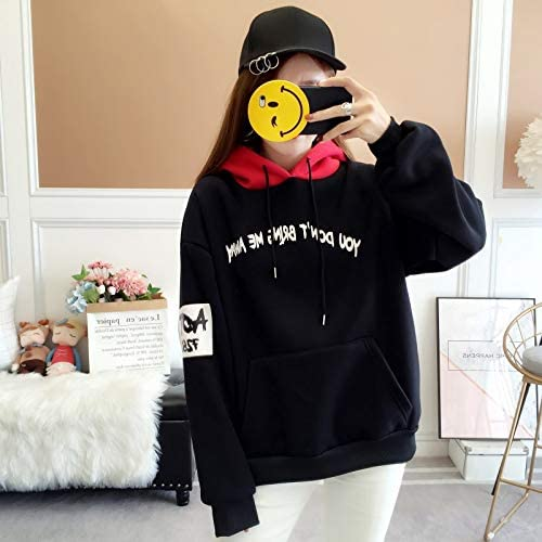 MIBKLPG Neue Frauen Hoodies Warm Loose Hooded Oversized Sweatshirt Hoodie Streetwear Schwarz