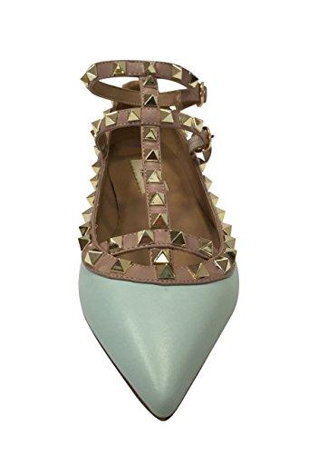 Kaitlyn Pan - Spitzverzierte Strappy Caged Ballerina Leather Flats Pastellblau matt / Nude trim / Gold Ohrstecker