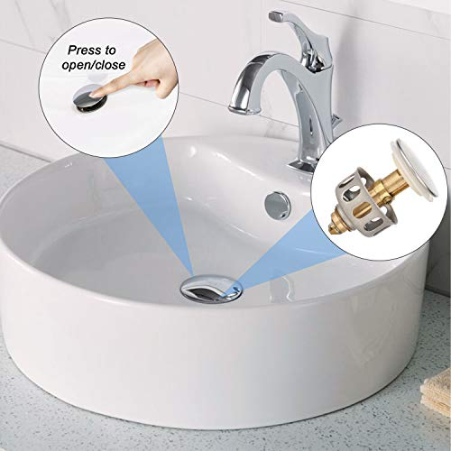 """Sink Drain Strainer, Wash Basin Bounce Drain Filter, LACE INN Pop Up Drain Hair Catcher with Basket Bathroom Sink Stopper Replacement for 1.38"""" Diameter, 1 PC"""