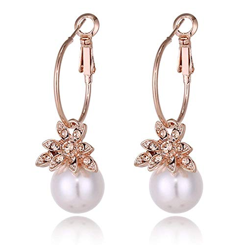 (New Rose Gold Crystal Flower Earrings Women's Bijoux Love Wedding Jewelry Declaration Earrings E346,White )