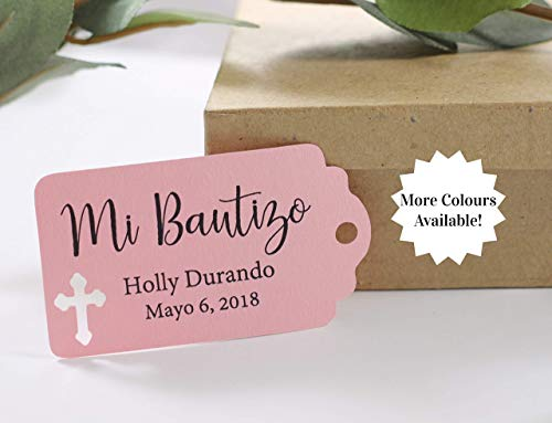 Mi Bautizo Favor Tags - Small Personalized Baptism Labels (Set of 20)