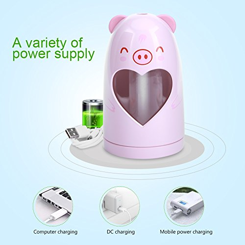 Mist Humidifier Ultrasonic USB Portable Air Humidifiers Purifier for Cars Office Desk Home Babies kids Bedroom 180ML Mini Desktop Cup Humidifier(Pig) by YosooXX (Image #5)