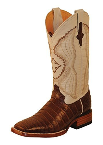 Ferrini Mens Belly Caiman Croc Sq Boots 9D Prl ()