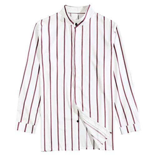 LEKODE Men Shirts Fashion Casual Tee Striped Long Sleeve Top Blouse Stand Collar(Red,M)