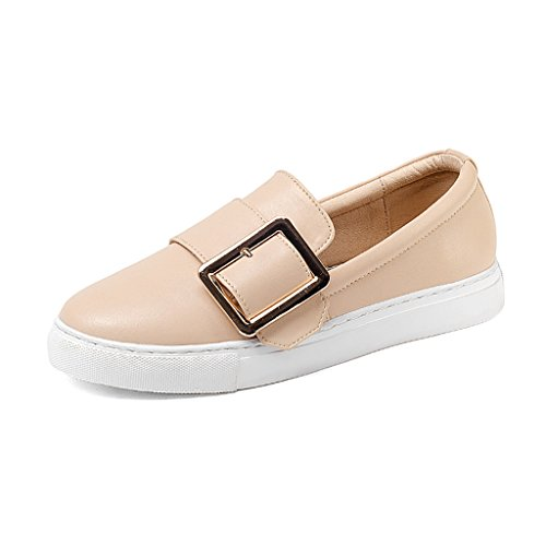 HWF Chaussures femme Printemps Petit Blanc Chaussures Collège Simple Chaussures Métal Carré Boucle Chaussures Plates A Une Pédale Paresseux Chaussures ( Couleur : Noir , taille : 37 ) Milk Tea Color