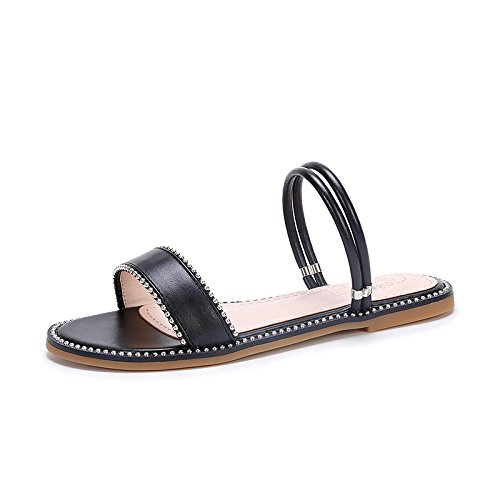 Hope Ladies Womens Open Toe Sandals Summer Slippers Ankle Strap Flat Shoes Casual Beach Shoes Black ZTKabf62Xg