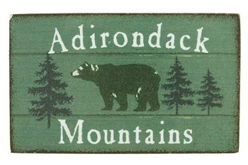 - Magnet Wooden Sign, Adirondack Mountains, Bear, 4-inch